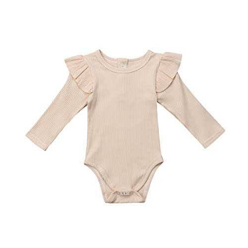 Infant Baby Toddler Girls Boys Ruffle Romper Bodysuit Striped Long Sleeve Cotton Jumpsuit Basic Clothes (Cream-Coloured, 12-18M)