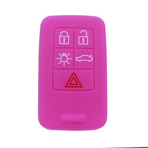 (Hwota Silicone Lightweight Car Remote Key Case Cover Shell for Volvo C30 C70 S40 V50 -Pink)
