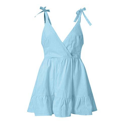 Sunhusing Ladies Sexy Sleeveless Strap with V-Neck Halter Ruffled Hem Mini Short Dress A-Line Princess Dress Blue
