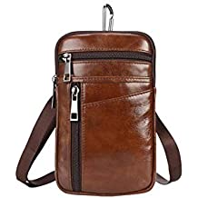 Garyesh Leather Crossbody Bag for Men Waist Bag Leisure Mens