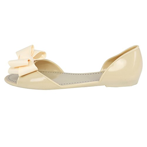 mujeres verano Jelly corbata de moño Sandalias peep toe Zapatos planos Beige