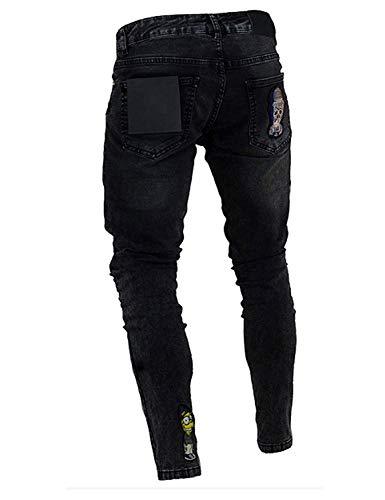 Jeans Stretch Uomo Vintage Fit Casual Pantaloni Da Con Colour Slim Denim Estilo Fashion Skinny Ricamo Especial qwXxnCF1
