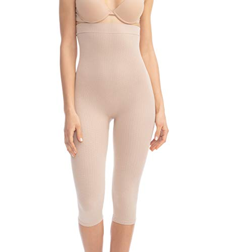 FarmaCell 123 (Nude, S/M) Women's High-Waisted Anti-Cellulite Capri Leggings