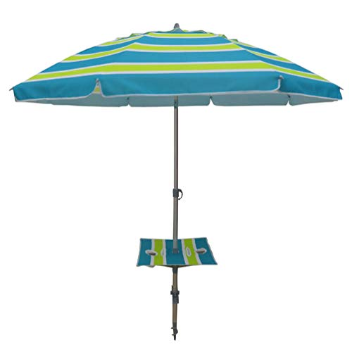 Square Fiberglass Market Umbrella - Sand Anchor 7 feet Beach Umbrella with Tilt Telescoping Aluminum Pole Vented Canopy 8 Fiberglass Ribs UPF 50+ Fabric Carry Bag (7', Lime Blue 1601)