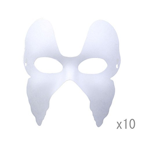 Meimasks DIY White Paper Mask Pulp Blank Hand Painted Mask Personality Creative Free Design Mask 10pcs (Butterfly) -