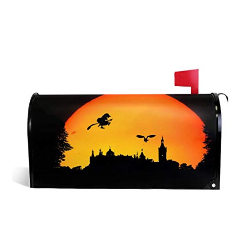 KIIKISS HUG Happy Halloween Castle Bat Moon Witch Magnetic Mailbox Cover Covers Standard Size 21x18 in ()