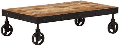 2020 Korting Tidyard Salontafel met wieltjes mangohout tafelbald en gepoedercoat staal banktafel vintage stijl eind bijzettafel woonkamer, slaapkamer, huis meubels 95 x 40 x 45 cm (L x B x H)  4o1Jg5v