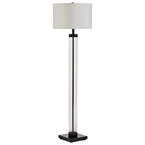 Stone & Beam Glass Column Living Room Standing Floor Lamp With Light Bulb and Linen Shade - 13 x 13x 59 Inch, Black