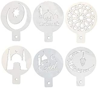 1 set Shiny 6pcs Ramadan Themed Coffee Latte Art Spray Patte