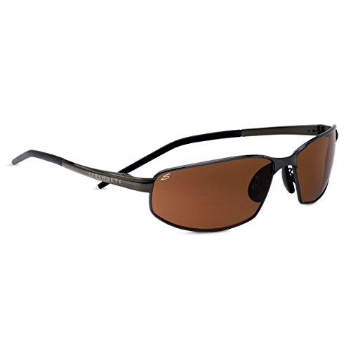 Serengeti Granada Sunglasses, Shiny Dark Gunmetal with D Polarized - Glasses Serengeti