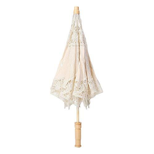 VistorHies - Handmade Lace Flower Embroidery Umbrella Elegance Atmosphere Wedding Bride Pography Umbrella ping ()