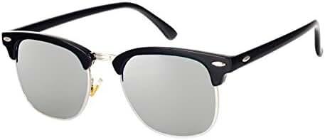 Pro Acme Classic Semi Rimless Polarized Clubmaster Sunglasses with Metal Rivets