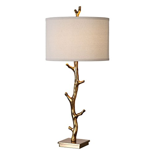Uttermost 27546 Javor - One Light Tree Branch Table Lamp, Plated Antiqued Gold/Steel Finish with Ivory Linen Fabric ()
