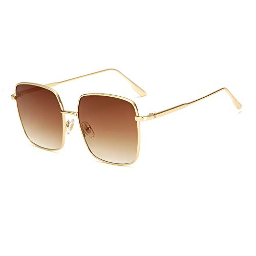 (Vocono Retro Oversized Sunglasses for Women Square Metal Frame Non-Prescription Lens (Brown))