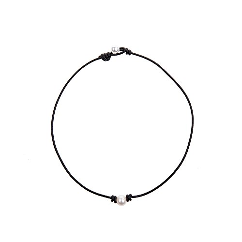 Bodai Handmade Genuine Leather Choker Necklace for Women Freshwater Pearl Jewelry (14, (Pearl Leather)