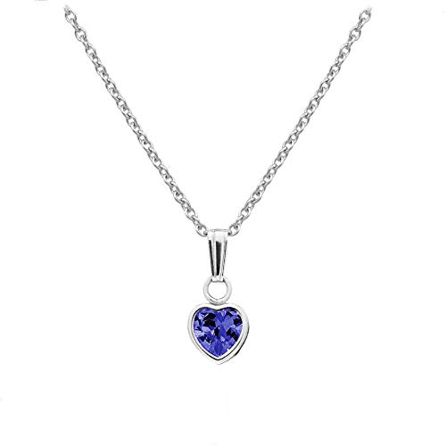 Little Girl's Sterling Silver Simulated September Birthstone Heart Pendant Necklace (13 in