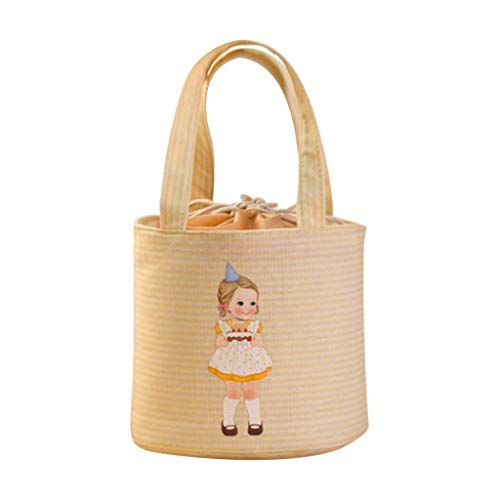 Lunch Box for Kids School Family, Sttech1 Cute Doll Thermal Drawstring Insulated Tote Cooler Bag Bento Pouch Lunch Container (Beige)