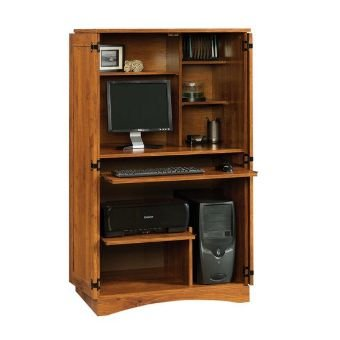 Corner Entertainment Armoire (Sauder Harvest Mill Computer Armoire, Abbey Oak Finish)