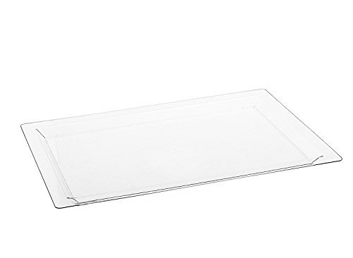 Disposable Rectangle Plastic Serving Tray | Excellent for Weddings, Buffets, Dinner, and Parties | 17 x 12 inches | 4 Count | Clear ()