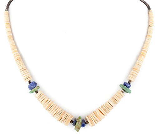 $280Tag Certified Silver Navajo Graduated Turquoise Lapis Native Necklace 15632-78 Made by Loma Siiva