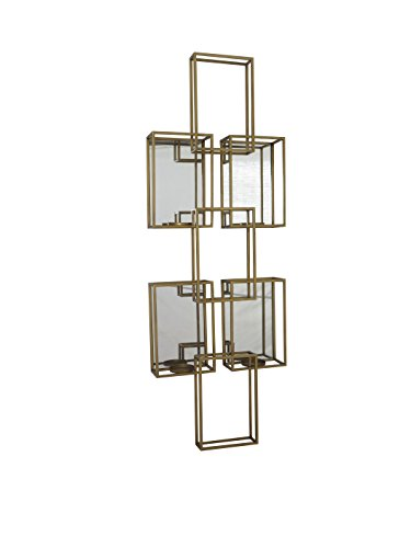 Sagebrook Home 12232 Metal Wall Sconce Candle Holder, Gold Metal, 18 x 6 x 50 Inches