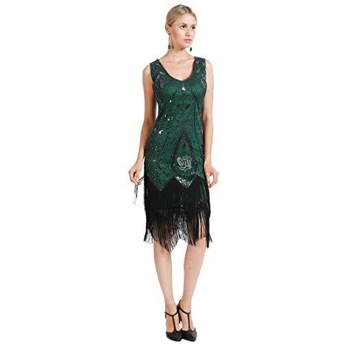 Frange Latin V Dco Dcoration Vert Rose de Tango Manche Paillettes Robe Danse Soire Folle Gatsby sans Bal Fleur Sguin Fonc Art 1920 Col Anne H4Eqw