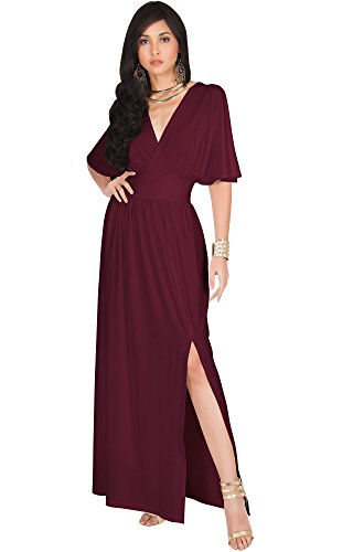 KOH KOH Womens Long Sexy Kimono Short Sleeve Slit Split V-Neck Party Cocktail Evening Bridesmaid Wedding Guest Sun Gown Gowns Maxi Dress Dresses for Women, Maroon Wine Red L 12-14 ()