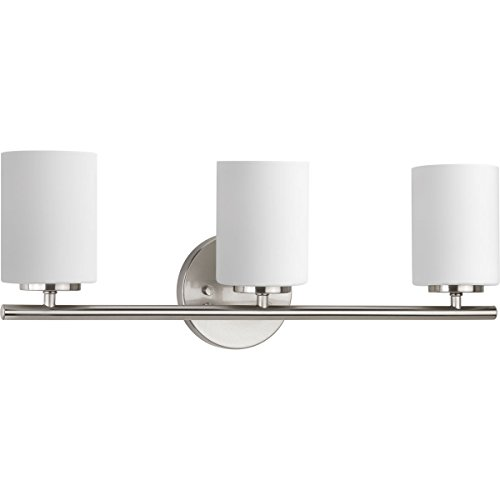 (Progress Lighting P2159-09 Contemporary/Soft 3-100W Med Bath Bracket, Brushed Nickel)