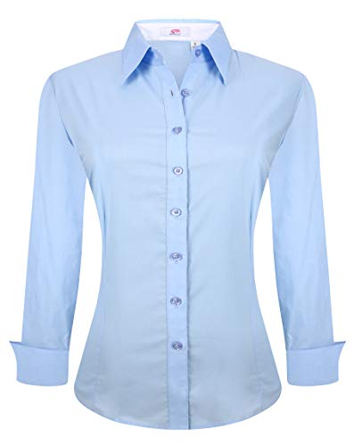 on Down Shirts Long Sleeve Regular Fit Cotton Stretch Work Blouse Blue L ()