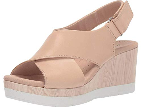 (CLARKS Women's Cammy Pearl Wedge Sandal Blush Leather 065 M US)