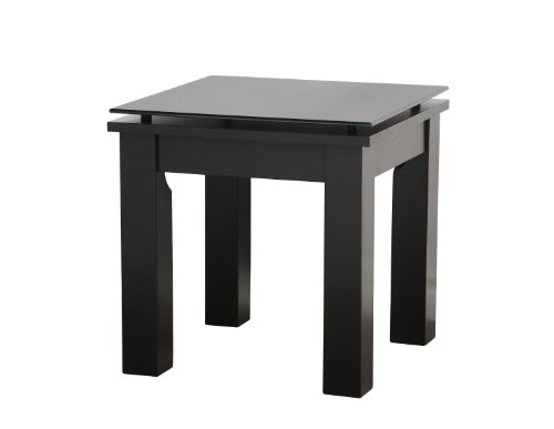 PLATEAU SL-TE 19 x 19 B BG Wood Accent Table, 19 by 19-Inch, Black Satin Paint Finish - Sl Series Accent Table