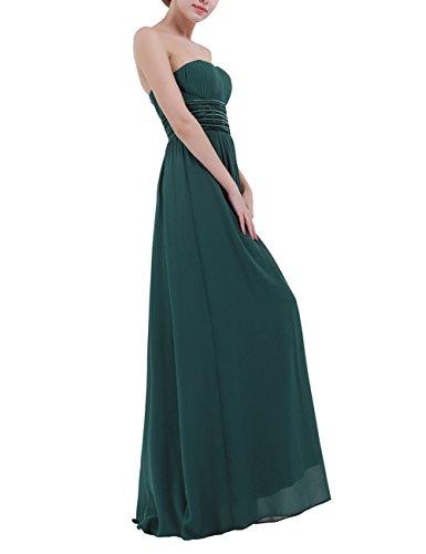 Tiaobug Damen festlich Chiffon Abendkleid Cocktailkleider Ballkleid Lange  Elegant Brautjungfer Party Kleid 36-46 Dunkelgrün ... 3604518df2