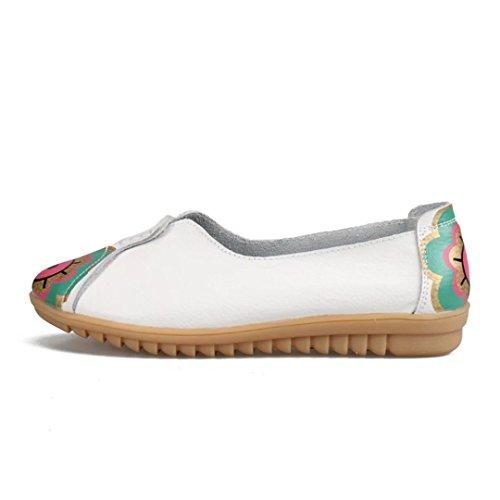 Kära-drottning Kvinna Blom- Design Rund Tå Driv Skor Kohud Tillfälliga Loafers Båt Skor Lägenheter Vit