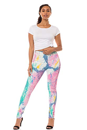 Aphrodite High Waisted Jeans for Women - High Rise Skinny Womens Tie Dye Painted Jeans 4229 (Made in USA) Multicolor 5