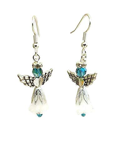Blue and Frosted White Angel Earrings with Antiqued-Silver Heart Wings, Choose Hypoallergenic or Nickel Free Ear Wires, Holiday Jewelry, Heavenly Collection