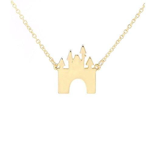 AOCHEE Castle Necklace Fairytale Building Pendant Princess Jewelry (Gold)