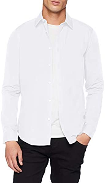 New Look Longsleeve Poplin Camisa, Blanco (White), Small ...