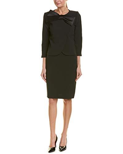 Tahari by ASL Women's Pebble Crepe Skirt Suit with Bow Detail Black 10 Asl Womens Skirt Suit
