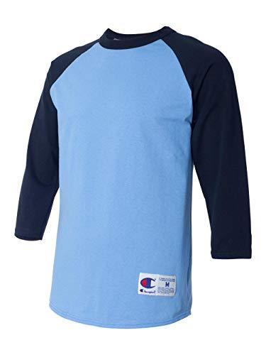 Champion Men's Raglan Baseball T-Shirt, Light Blue/Navy, Large