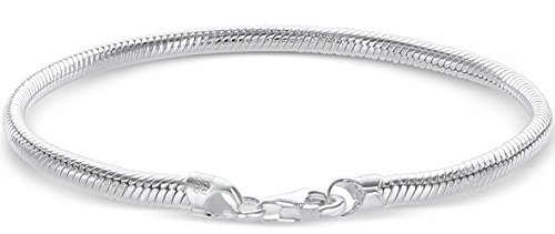 926 Sterling Silver Italian 3.0mm Snake Chain Bracelet for European Bead Charms / With Free Gift (3 MM Snake 7.0 (Nickel Snake Bracelets)