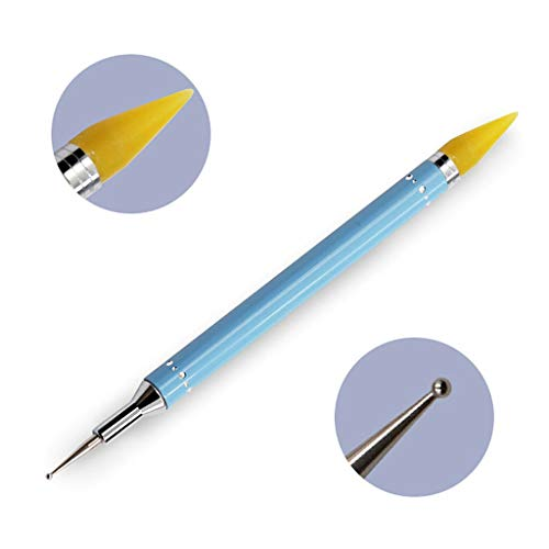 (Dual-ended Dotting Pen Acrylic Studs Picker Wax Pencil Manicure Nail Art Tool (Color - Blue))