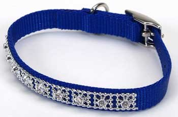Jeweled Dog Collar  - 12 in. Blue with Swarovski Crystal Jewels with a Width of 3/8 in.