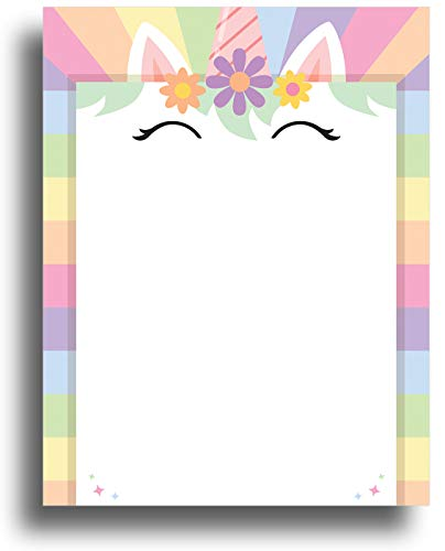 Unicorn Border Stationery Paper - 80 Sheets - Great for Birthday Invitations, Flyers, and Announcements
