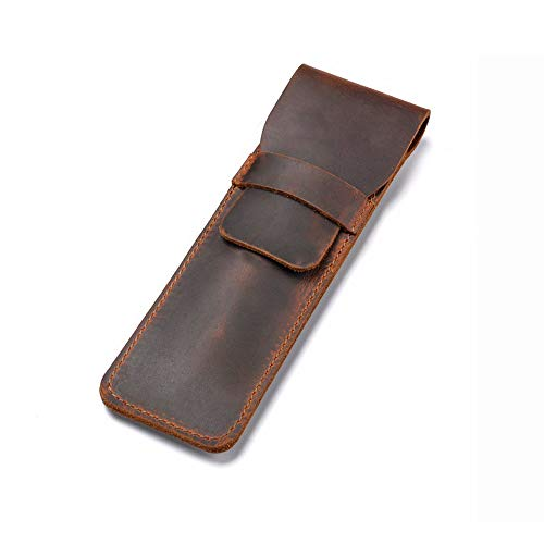 Daimay Leather Pen Case Holder Handmade Fountain Multi Pens Pouch Crazy Horse Leather Pen Protective Sleeve Cover – Brown