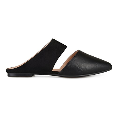 Brinley Co Womens Faux Suede Faux Leather Slip-On Mules Black, 9 Regular US