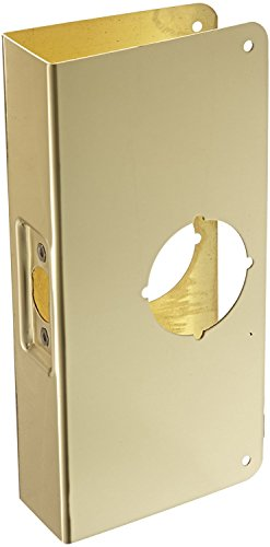 Don-Jo 4-CW-PB Stainless Steel Classic Wrap-Around Plate, Polished Brass Finish, For Cylindrical Door Locks, 4-1/4
