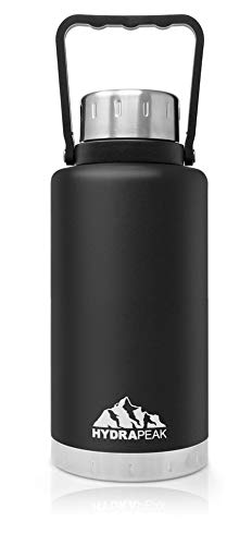 Hydrapeak 50oz Water Bottle, Double Wall Stainless-Steel Vacuum Insulated Thermos Canteen, Wide Mouth Flask BPA-Free Leak-Proof Growler with Handle Lid (50oz, Black) (Hydra Thermos)