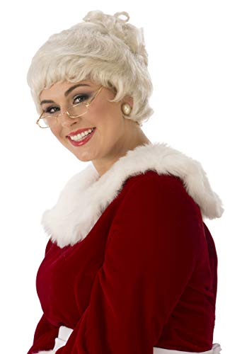 Mrs Claus Wig (Rubie's Women's Deluxe Mrs. Claus Wig, White, One)