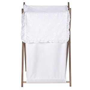 Sweet Jojo Designs Baby and Kids Clothes Laundry Hamper for White Eyelet Bedding Set