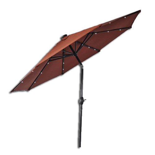 Better Homes and Gardens 9' Round Umbrella with Solar Lights, Orange (Best Better Homes And Gardens Umbrellas)
